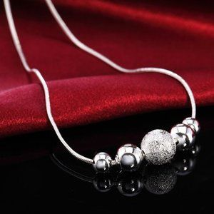 Sterling Silver Bead Snakechain Pendant Necklace